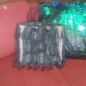 Hot fringe and reptile skin bag CARLOS SANTANA